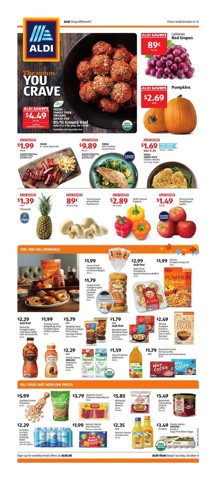 aldi weekly ad fall sale and pumpkin flavors from oct 6 to 12 2019