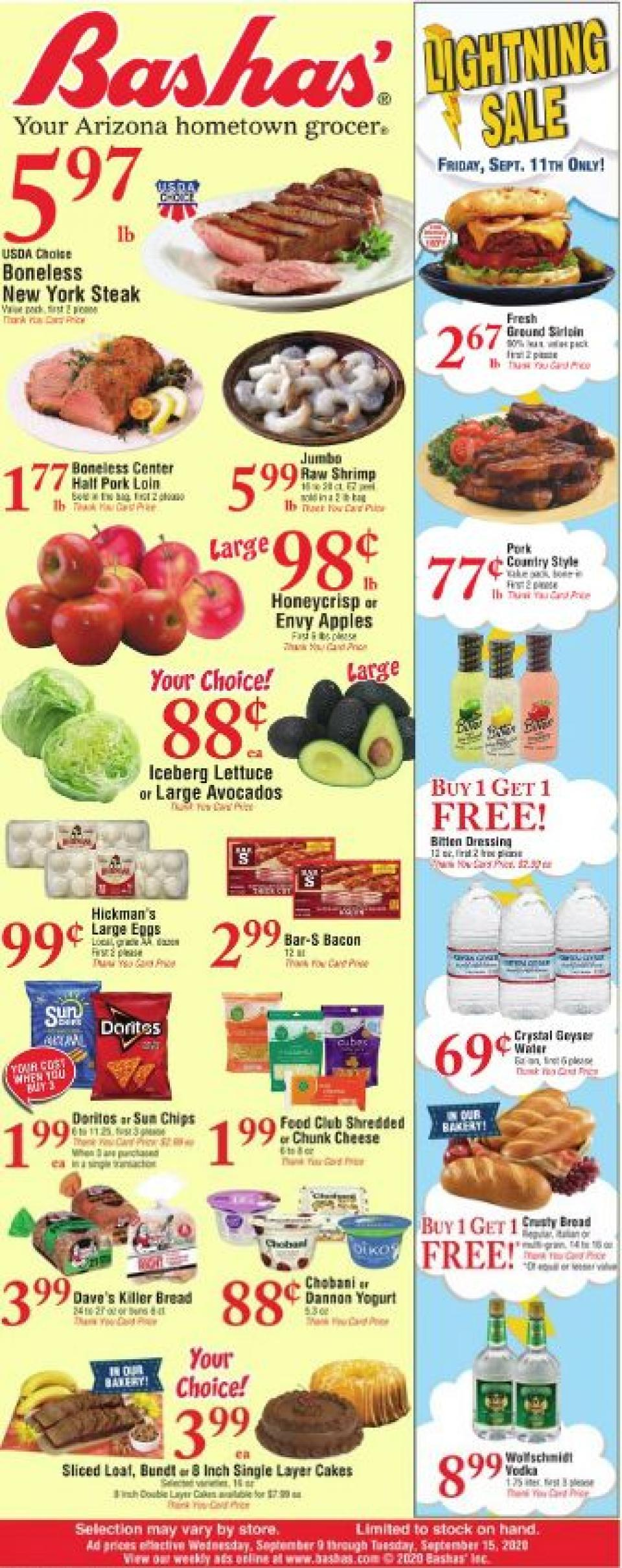 Bashas Weekly September Ad valid from Sep 9 – 15, 2020