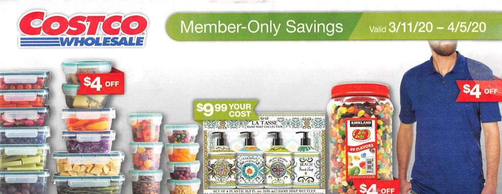 Costco March Member Savings Ad valid from March 11 – Apr 5, 2020.