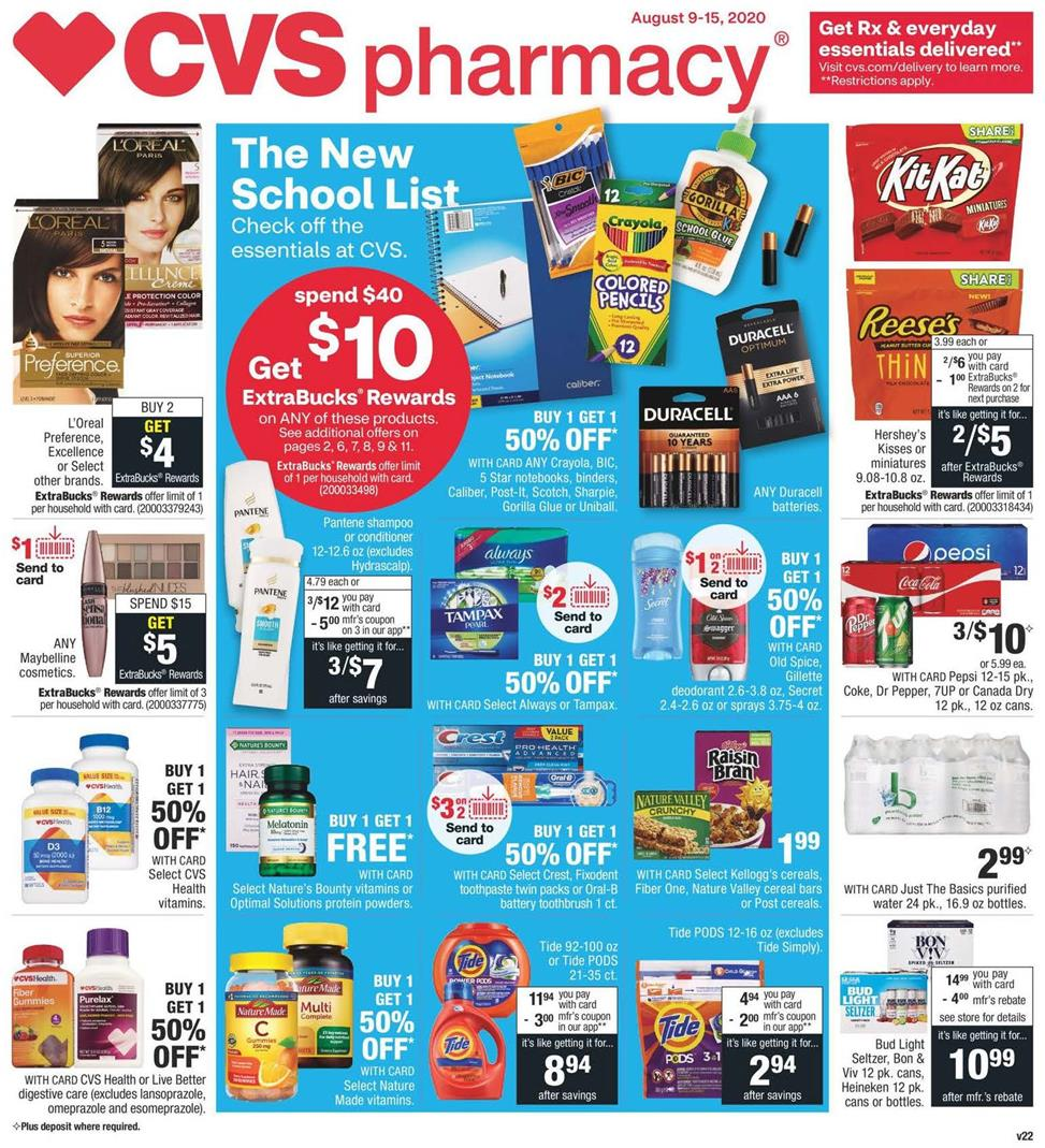cvs weekly august ad valid from aug 9 15 2020