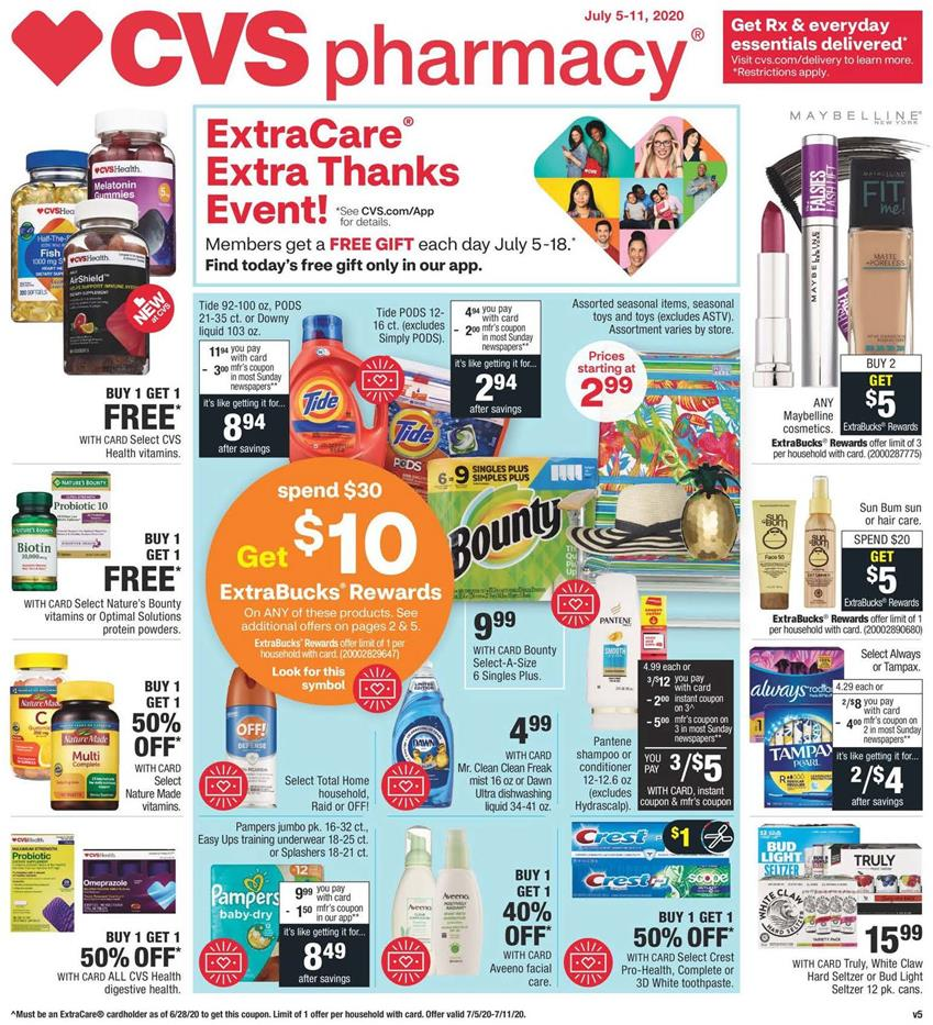 cvs july weekly ad valid from jul 5 11 2020 hurry up