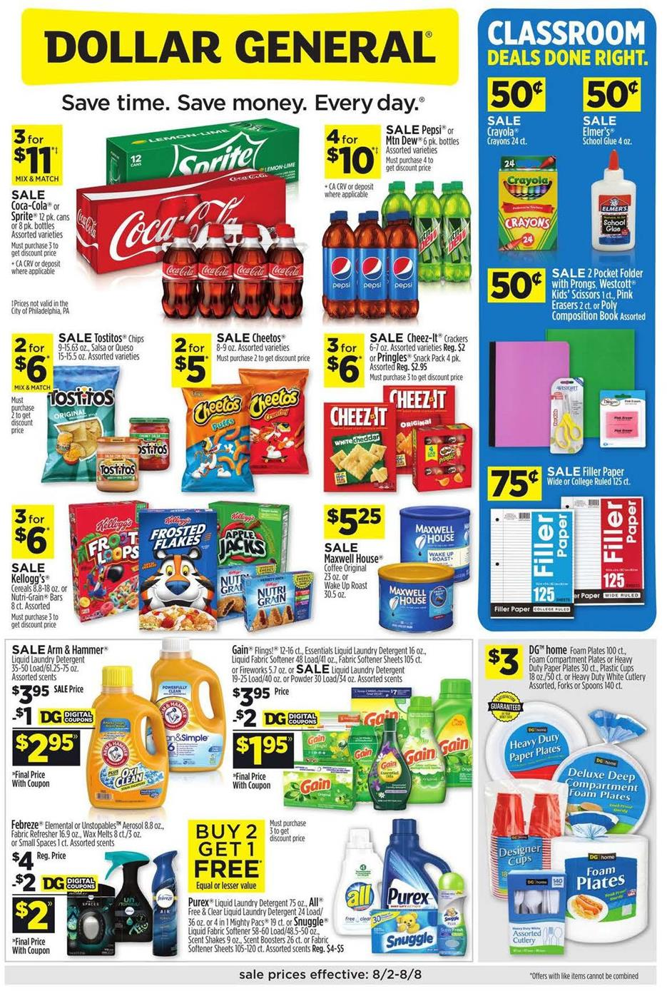 Dollar General August Weekly Ad valid from Aug 2 – 8, 2020
