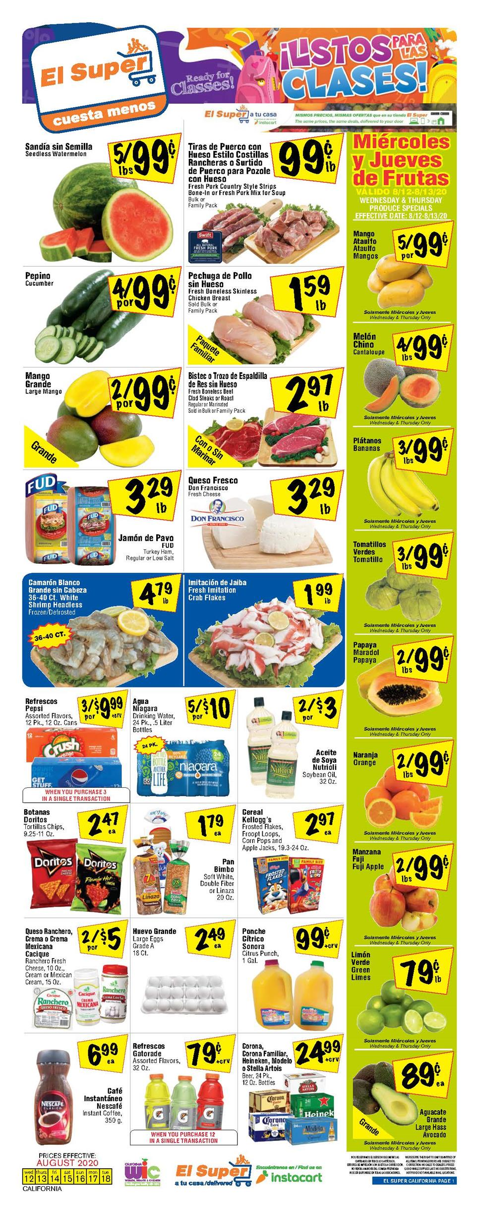 El Super Weekly August Ad valid from Aug 12 – 18, 2020