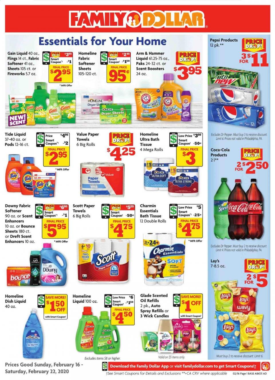 Family Dollar February Household Sale Ad valid from Feb 16 – 22, 2020.
