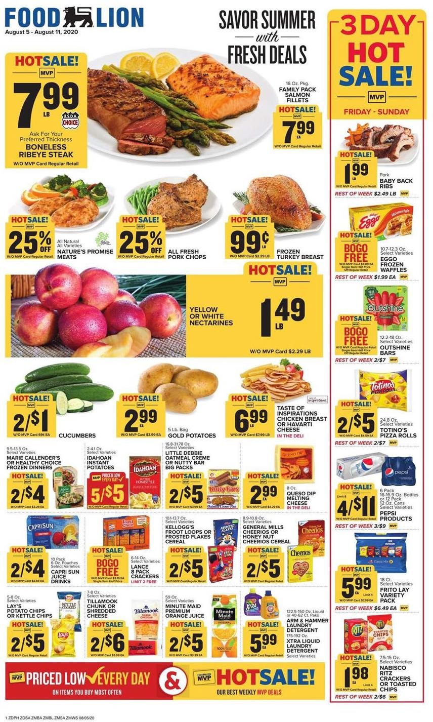 Food Lion August Weekly Ad valid from Aug 5 – 11, 2020