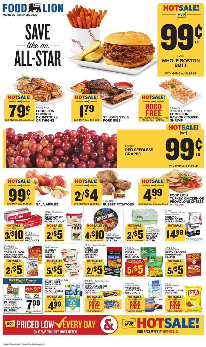 Food Lion Final March Weekly Ad valid from Mar 25 – 31, 2020.