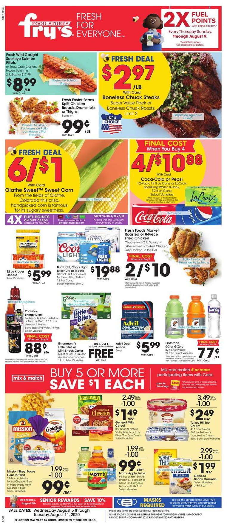 Fry's Weekly August Ad valid from Aug 5 – 11, 2020