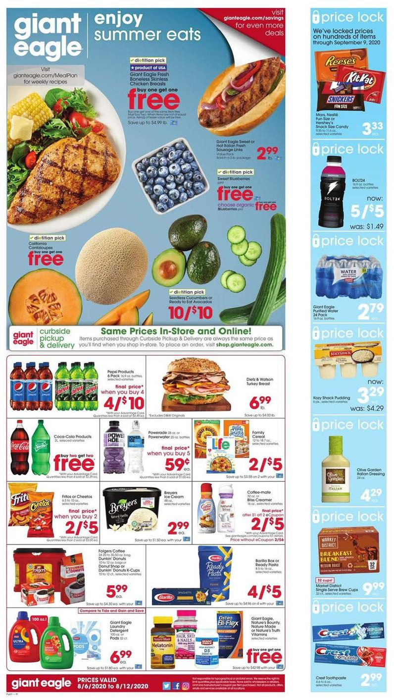 Giant Eagle Weekly August Ad valid from Aug 6 – 12, 2020