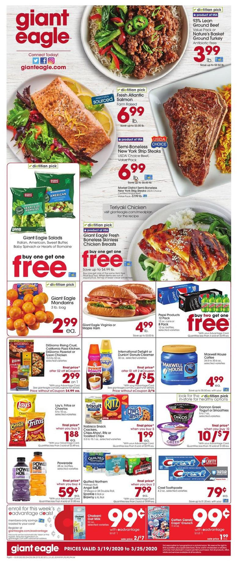 Giant Eagle March Grocery Sale Ad valid from Mar 18 – 24, 2020.