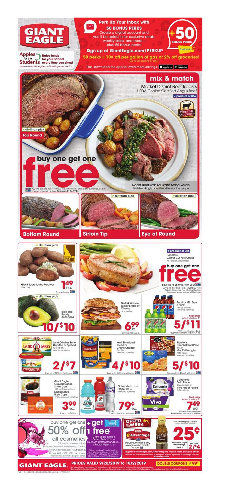 bogo free deals with new giant eagle ad sep 26 oct 2 2019
