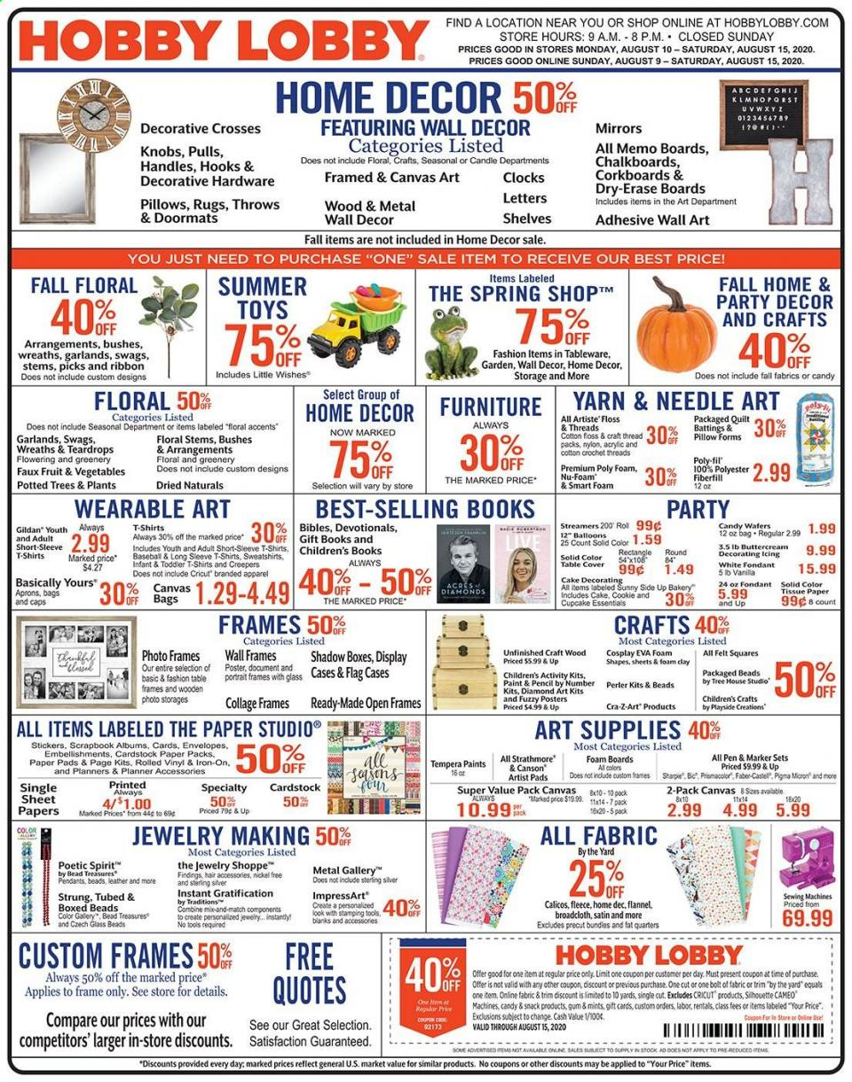 Hobby Lobby August Weekly Ad valid from Aug 9 – 15, 2020