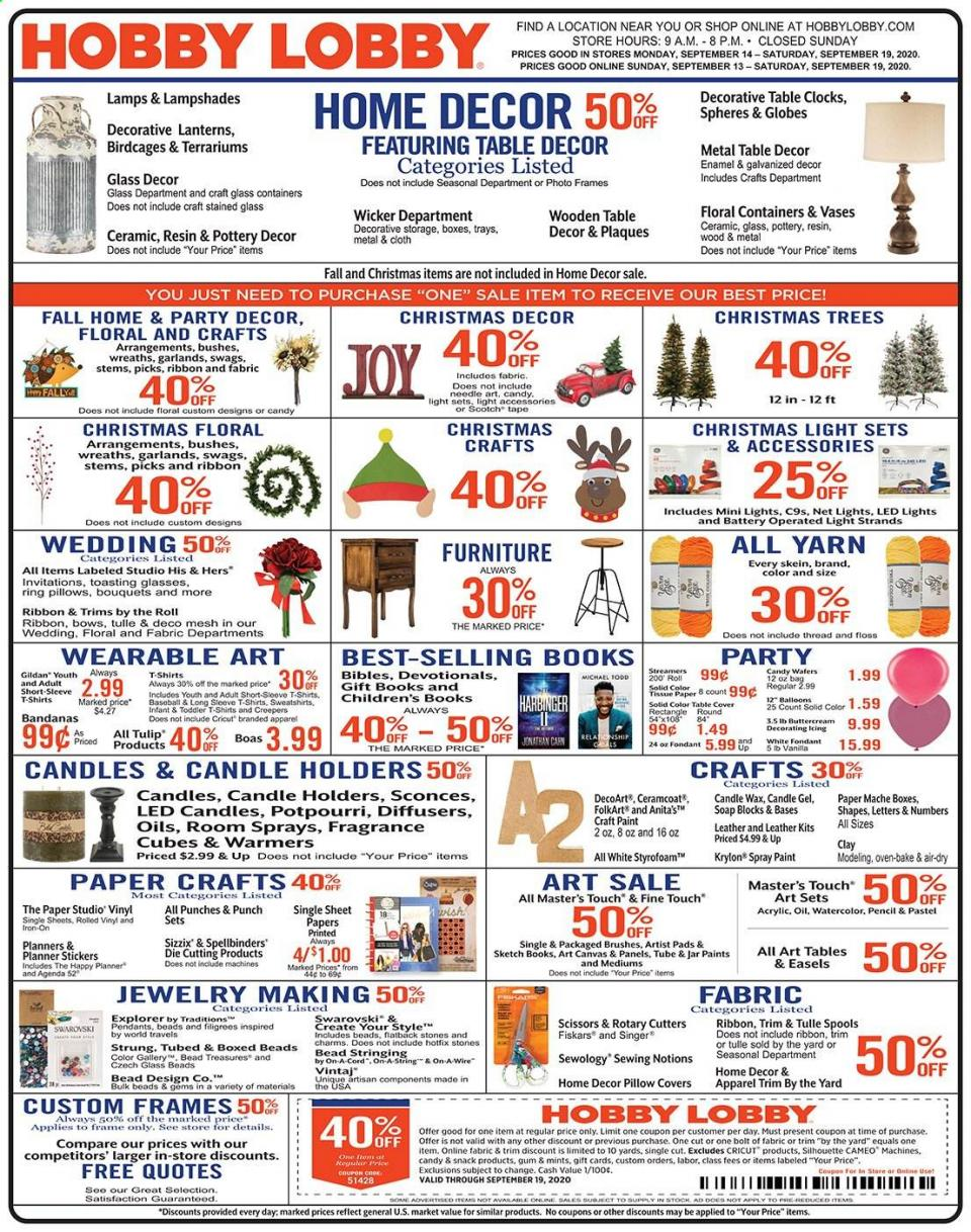 Hobby Lobby Weekly September Ad valid from Sep 13 – 19, 2020