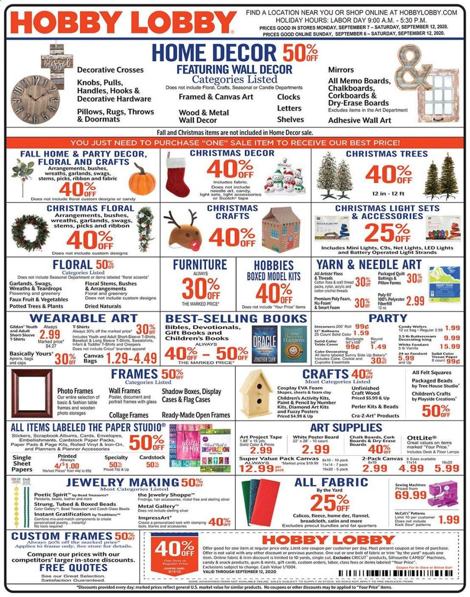 hobby lobby september weekly ad valid from sep 6 12 2020
