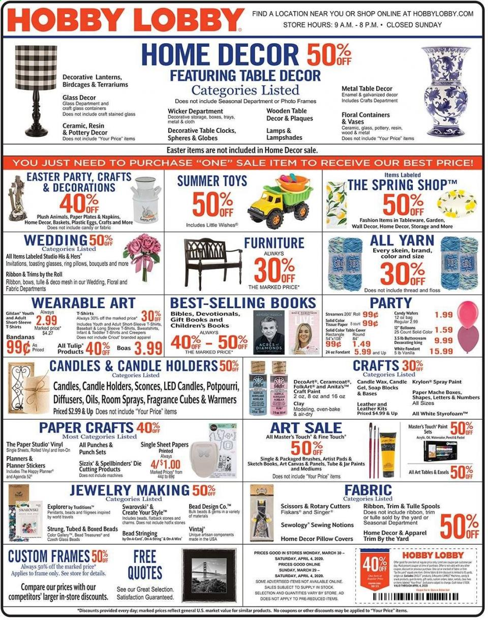 hobby lobby april weekly ad valid from mar 29 apr 4 2020