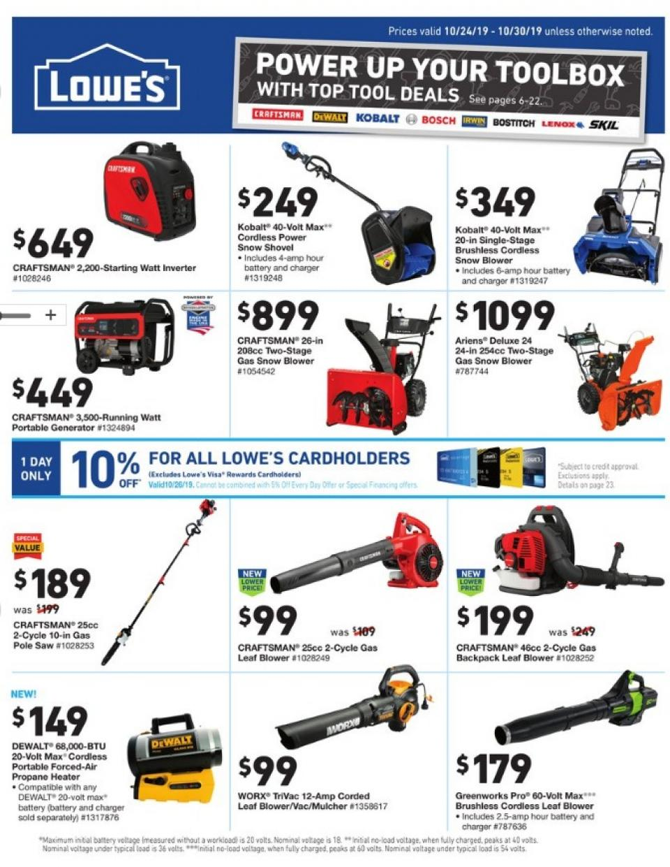 lowes tools sale ad valid from oct 24 30 2019