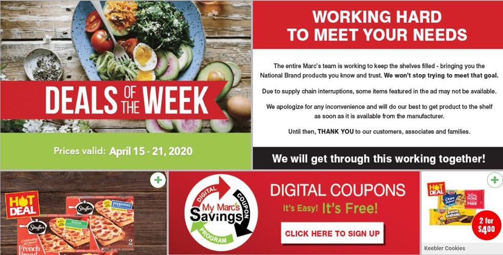 marcs mid april weekly grocery ad valid from apr 15 21 2020