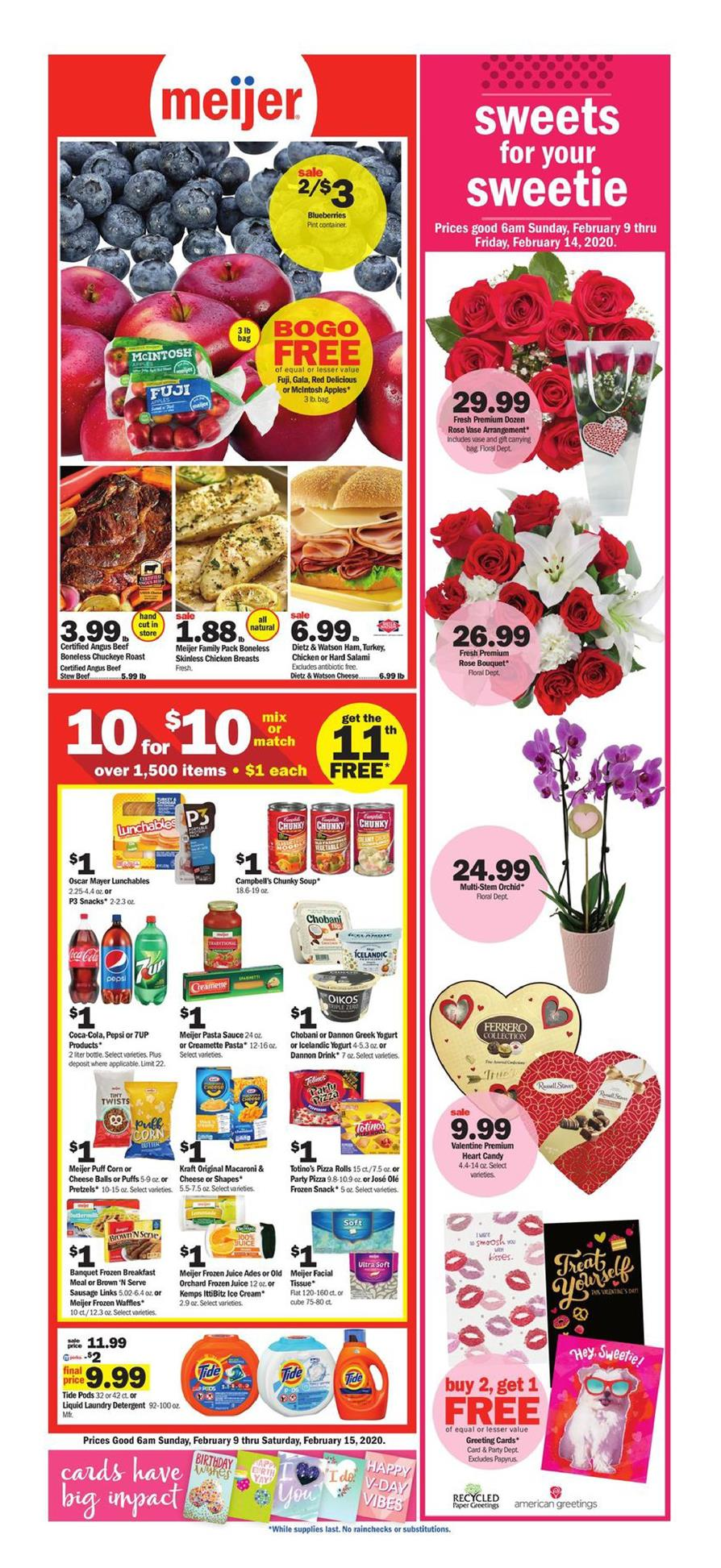 Meijer Valentine's Day Weekly Ad valid from Feb 9 – 15, 2020.