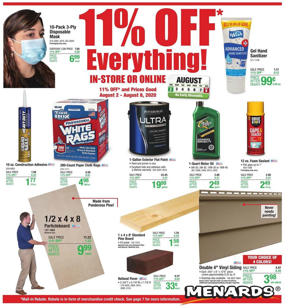 menards august weekly ad valid from aug 2 8 2020