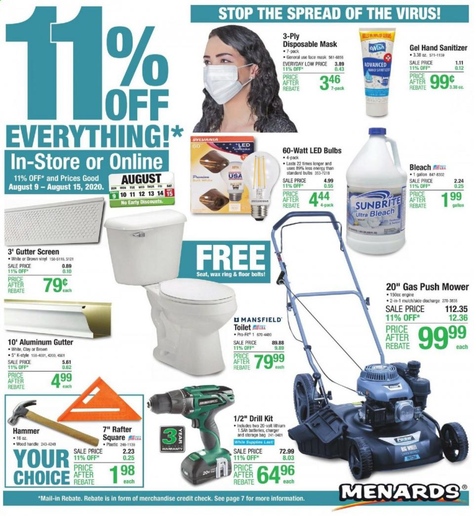 menards weekly august ad valid from aug 9 15 2020