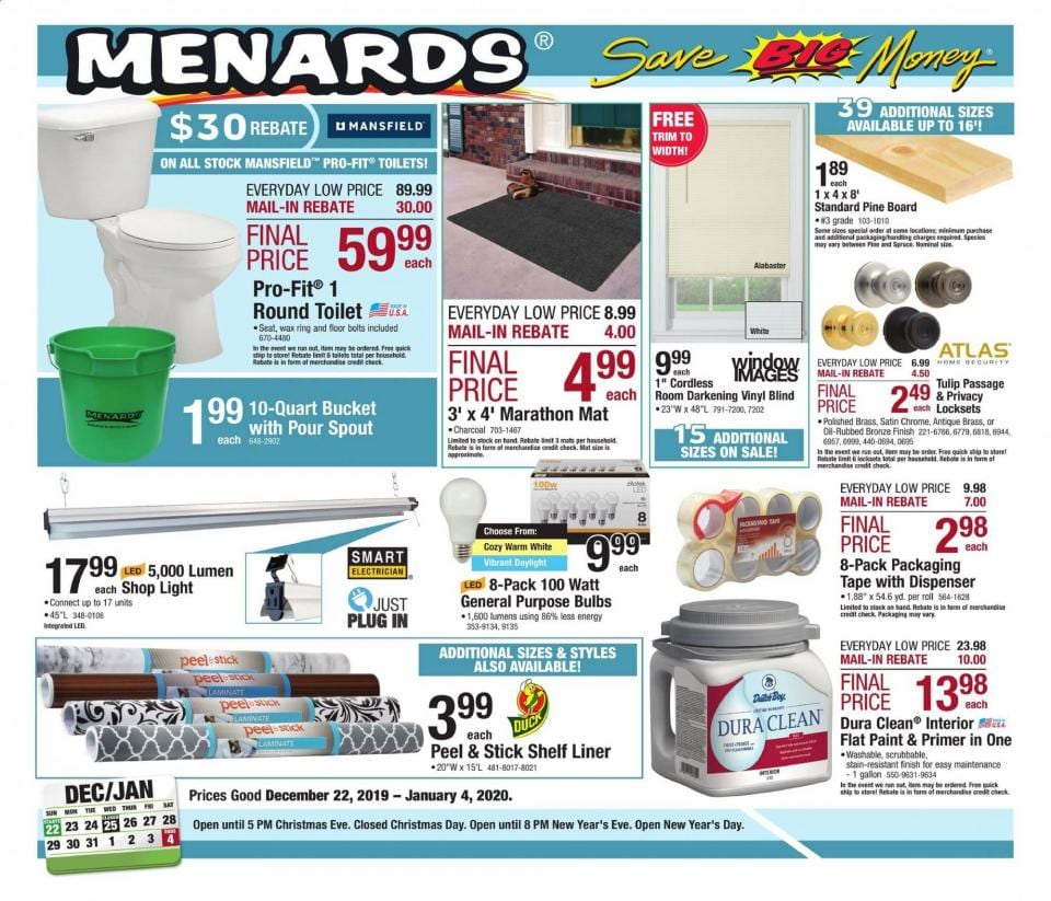 menards new year ad valid from dec 22 to jan 4 hurry up to menards
