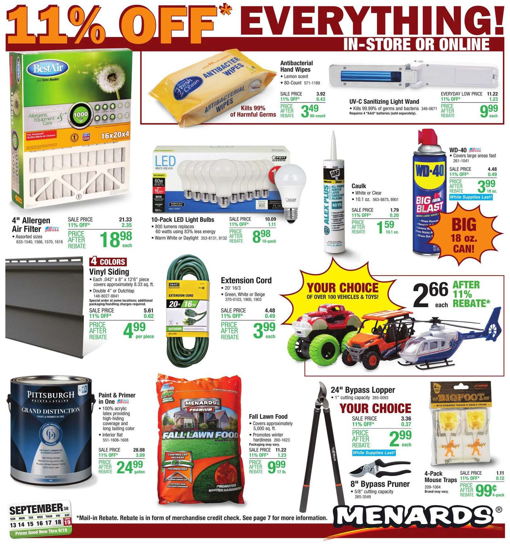 Menards Weekly September Ad valid from Sep 13 – 19, 2020