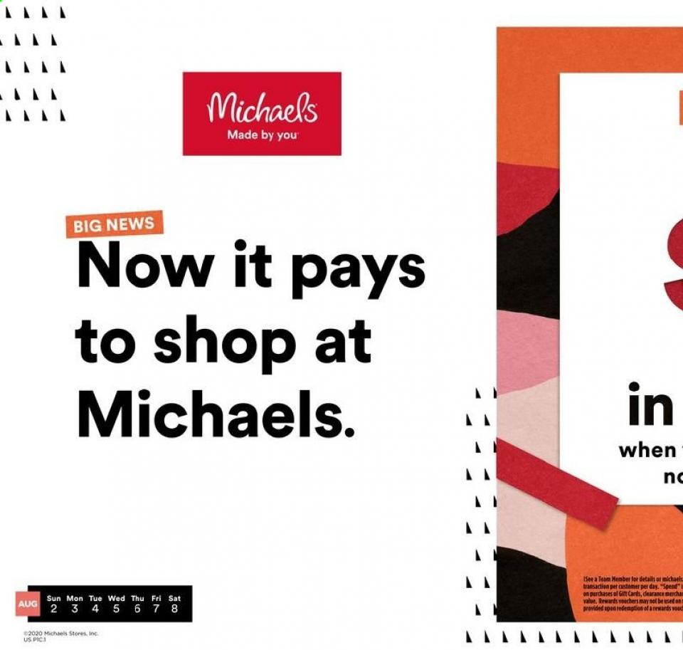 Michaels August Weekly Ad valid from Aug 2 – 8, 2020
