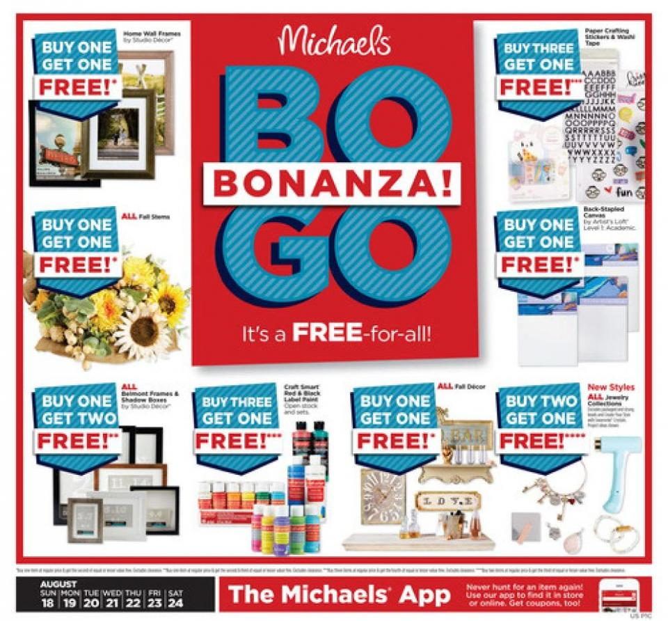 michaels weekly ad aug 18 24 2019