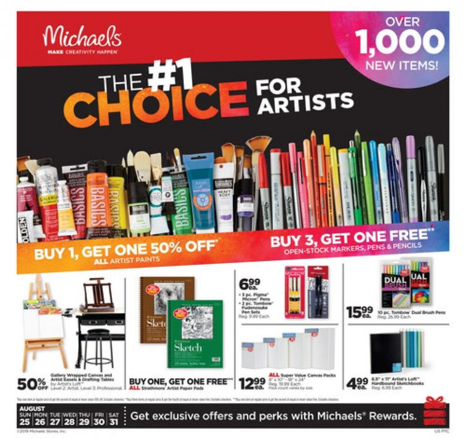 michaels weekly ad aug 25 31 2019