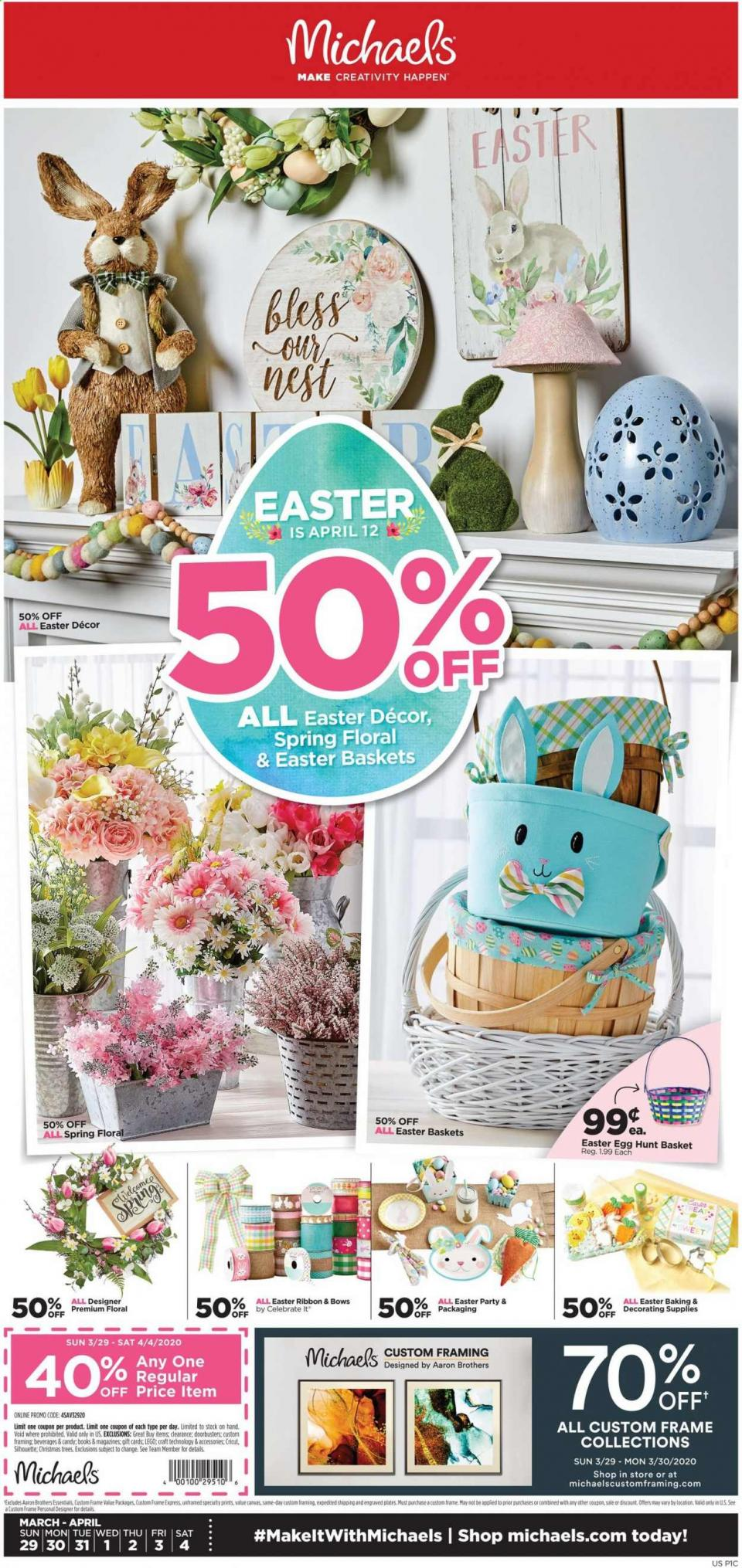 Michaels Easter Weekly Ad valid from Mar 29 – Apr 4, 2020.