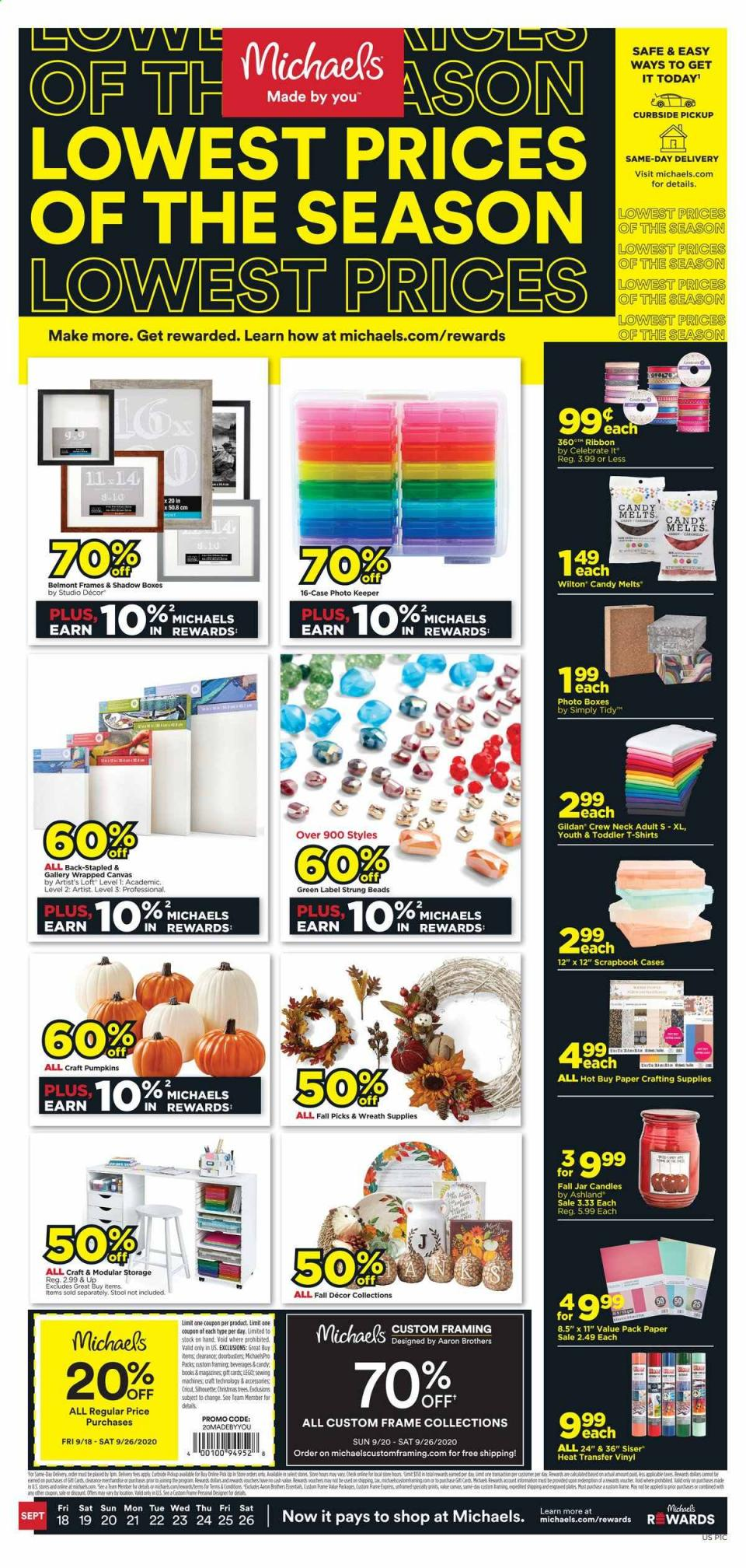 michaels weekly september ad valid from sep 18 26 2020