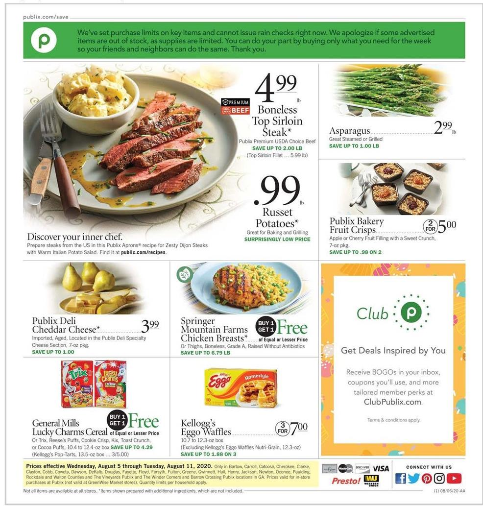 publix august weekly ad valid from aug 5 11 2020