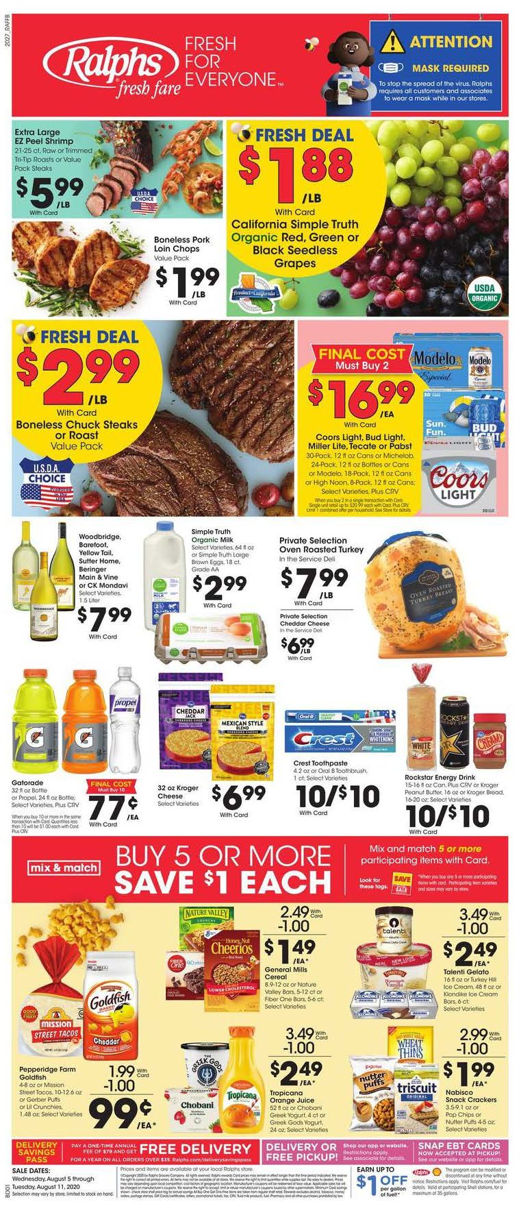 Ralphs August Weekly Ad valid from Aug 5 – 11, 2020