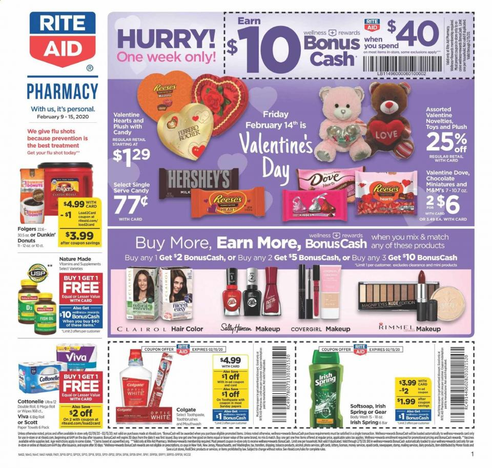 Rite Aid Valentine's Day Ad valid from Feb 9 – 15, 2020.