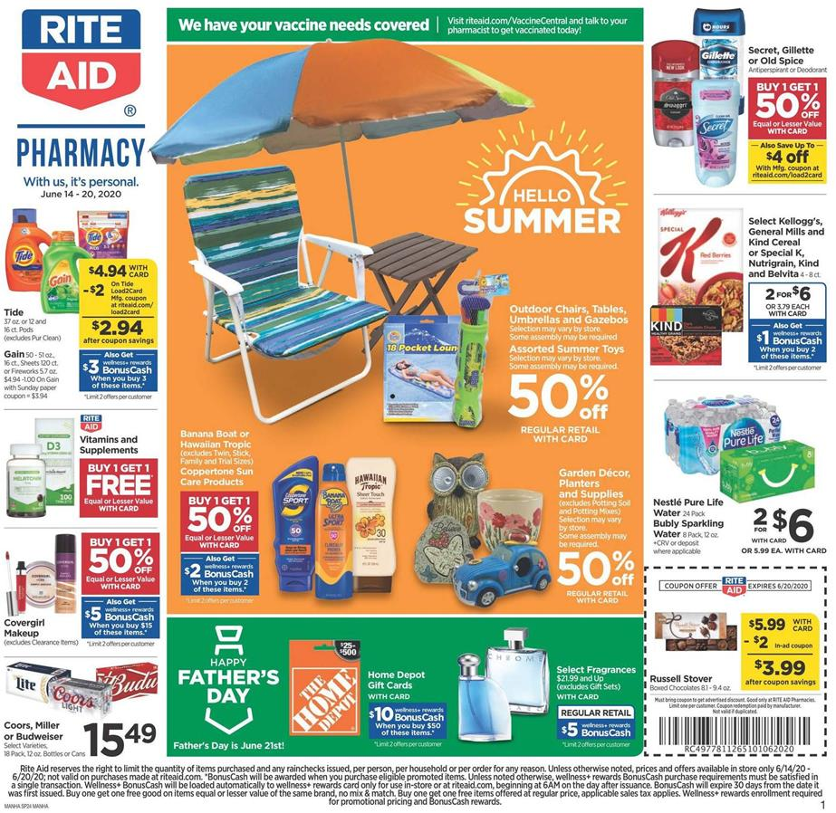 Rite Aid Mid-June Ad valid from Jun 14 – 20, 2020