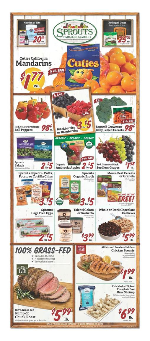 Sprouts Fresh Food Sale valid from Mar 18 – 24, 2020.