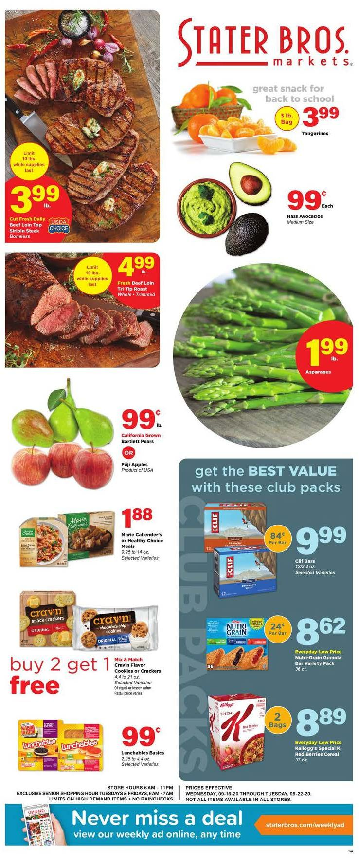 Stater Bros Weekly September Ad valid from Sep 16 – 22, 2020