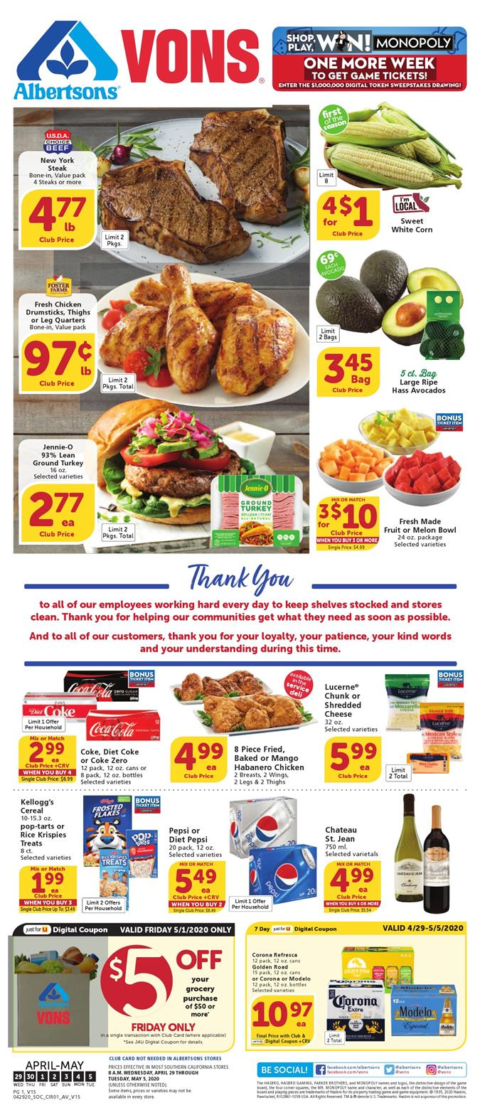 vons weekly ad apr 29 2020