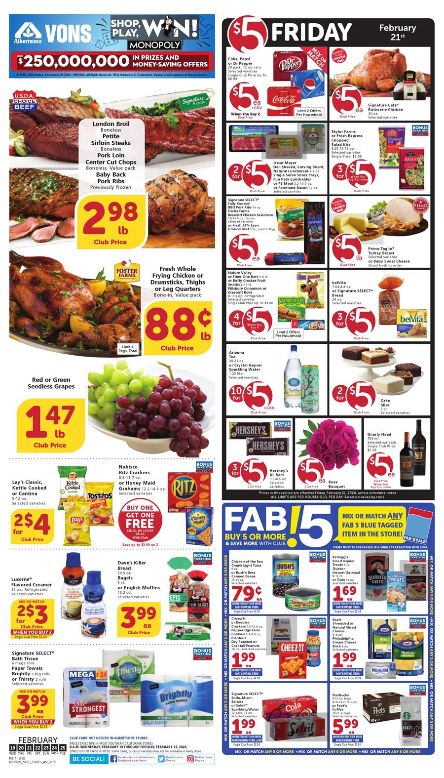Vons Final February Weekly Ad valid from Feb 19 – 25, 2020.