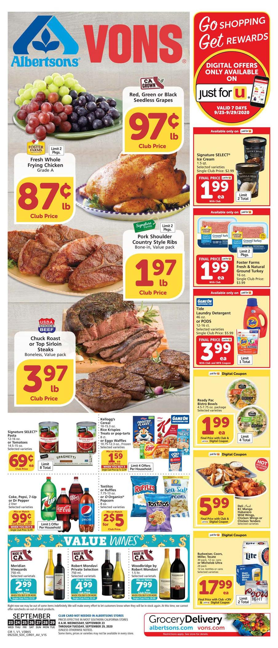 Vons Final September Ad valid from Sep 23 – 29, 2020