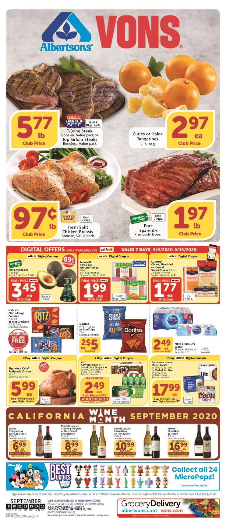 vons september weekly ad valid from sep 9 15 2020