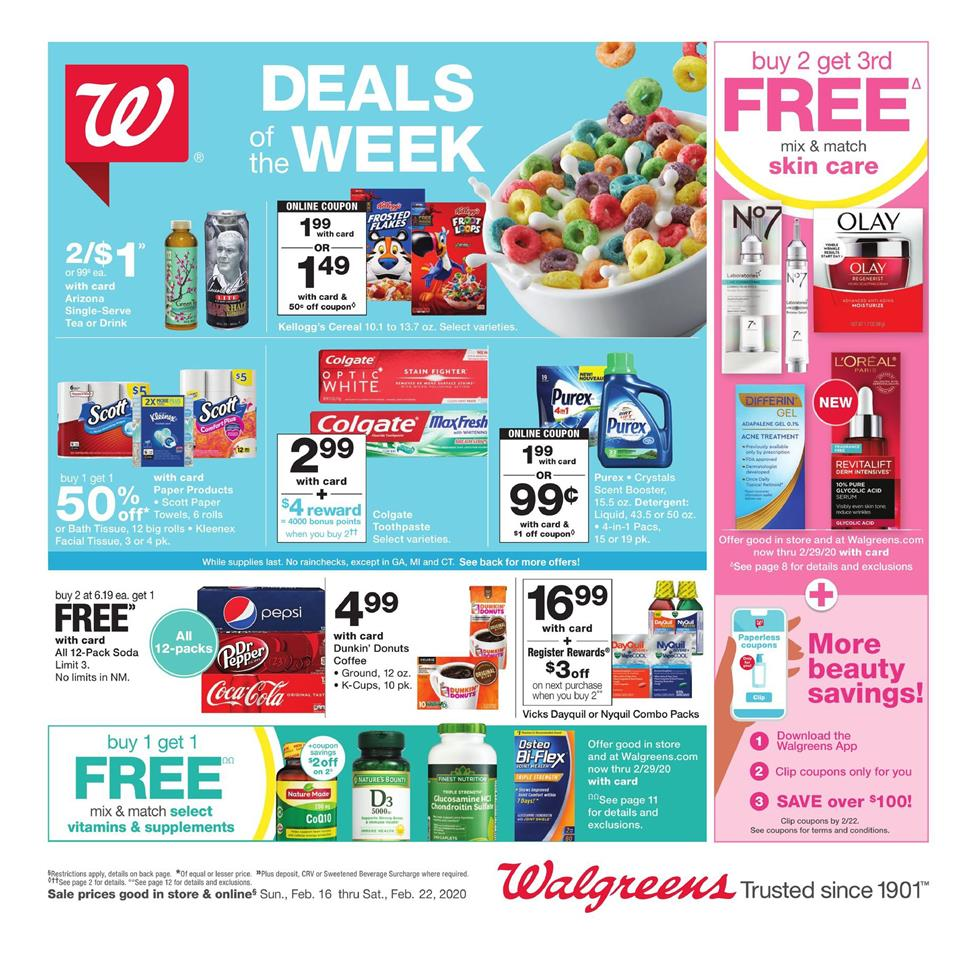 walgreens deals of the week ad valid from feb 16 22 2020