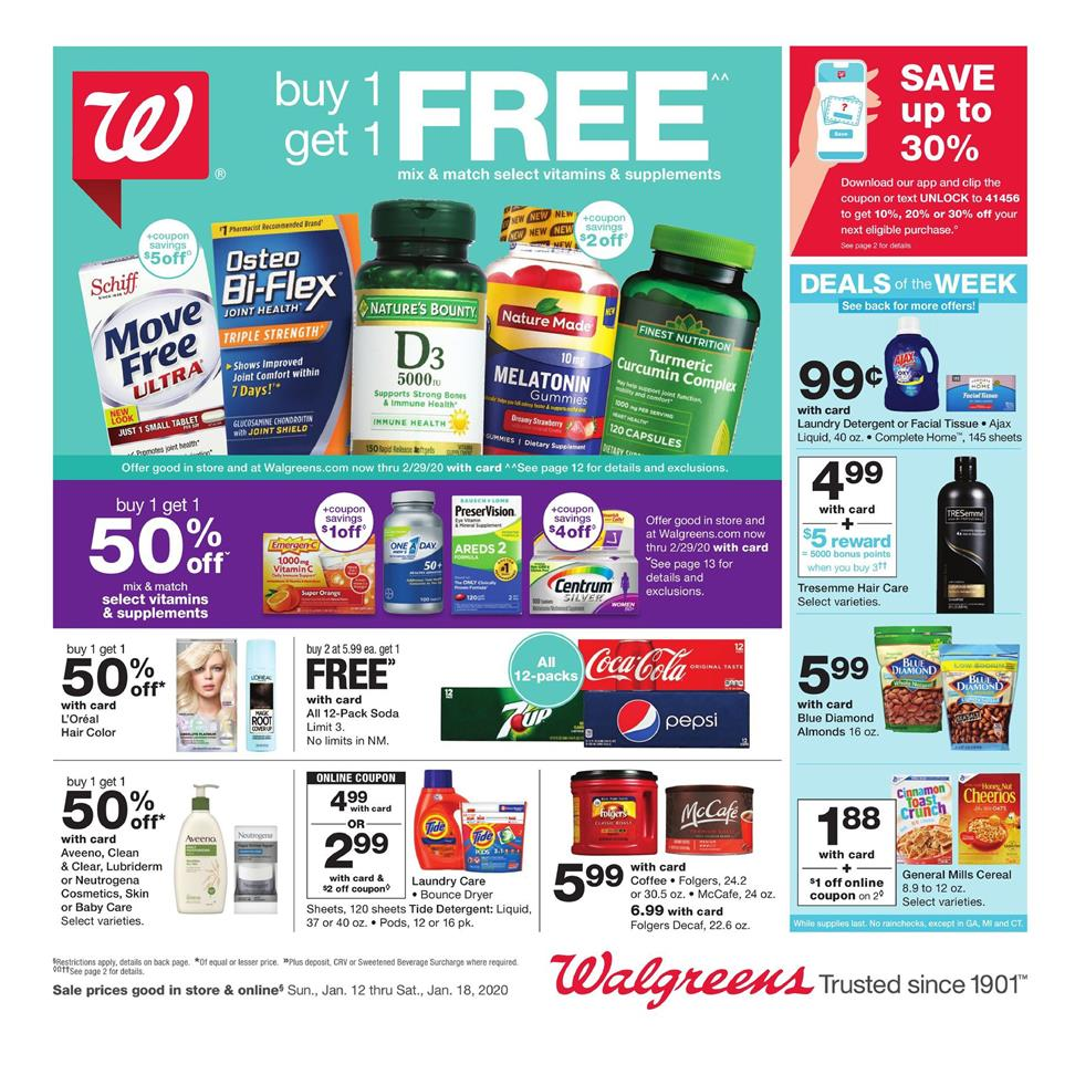 walgreens mid january weekly ad valid from jan 12 18 2020
