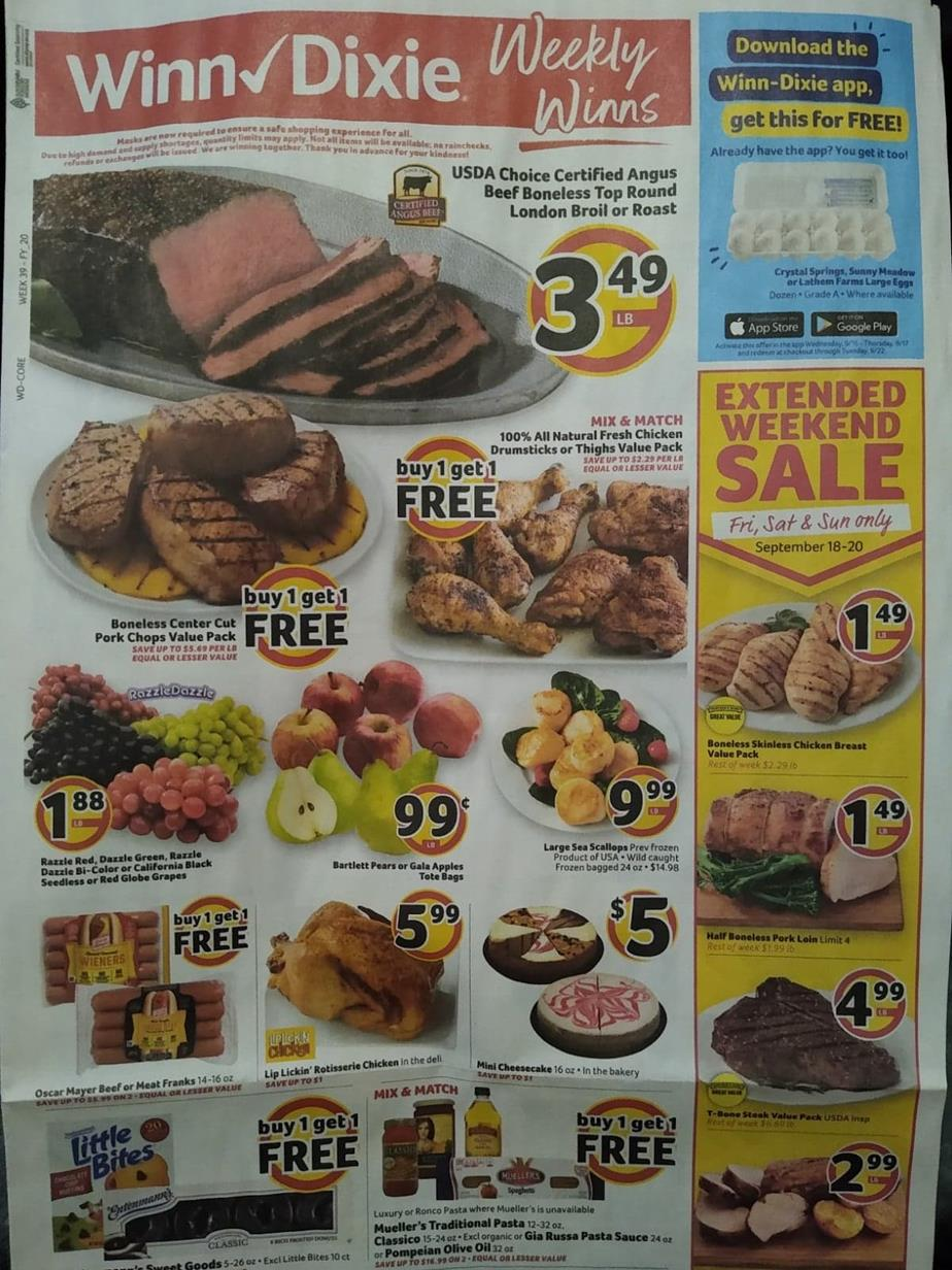 winn dixie mid september weekly ad valid from sep 16 sep 22 2020